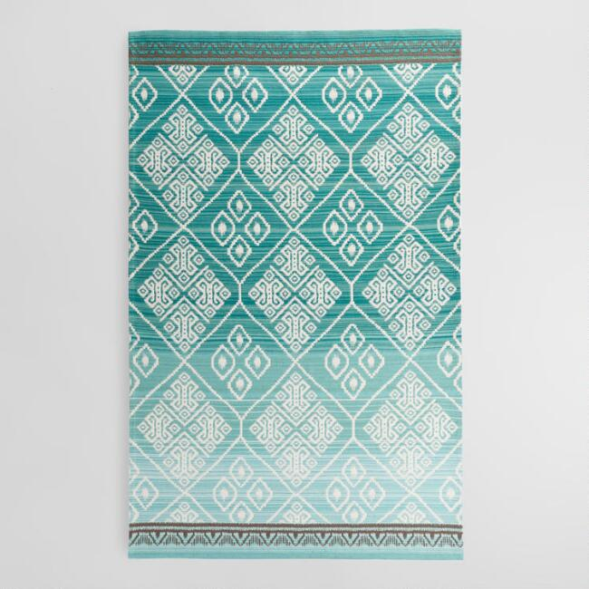 5'x8' Teal Diamond Medallion Candice Indoor Outdoor Rug