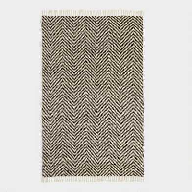 Black And Ivory Woven Chevron Indoor Outdoor Rug