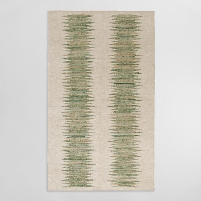 Green and Ivory Double Ikat Kiran Indoor Outdoor Rug