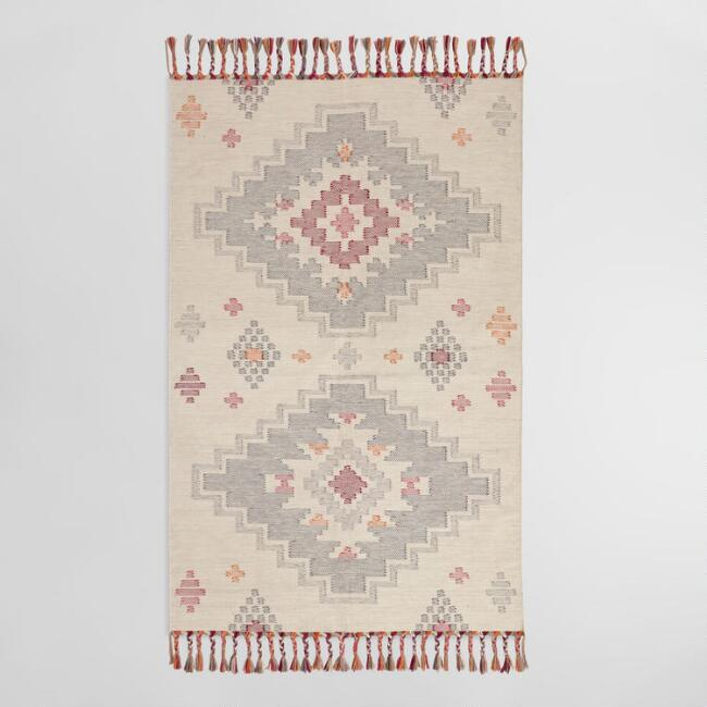 White and Pink Diamond Kilim Maliha Indoor Outdoor Rug