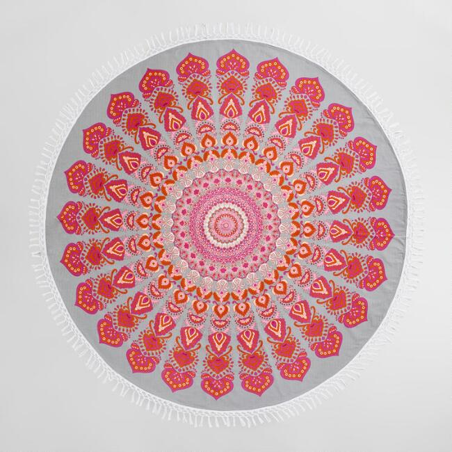 6' Round Pink and Gray Medallion Cotton Festival Blanket