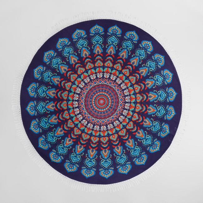 6' Round Blue and Magenta Medallion Cotton Festival Blanket