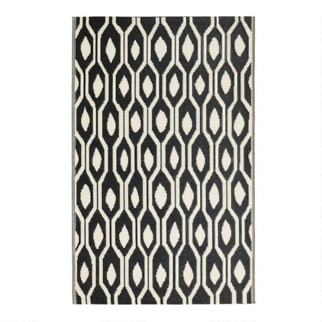 Black and Cream Reversible Indoor Outdoor Rio Floor Mat