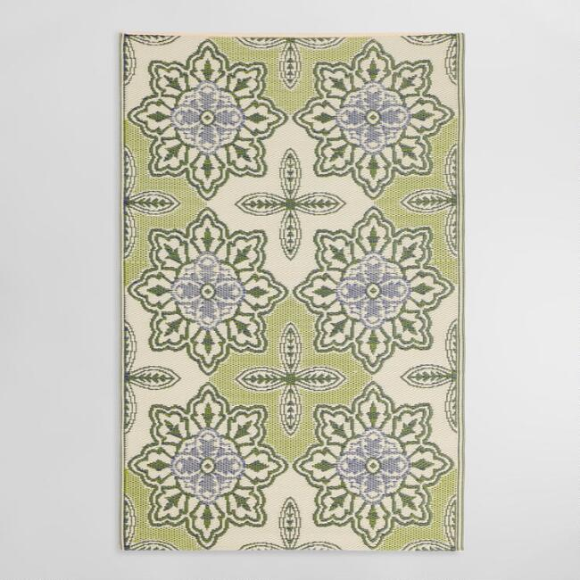 4'x6' Green Tile Reversible Indoor Outdoor Rio Floor Mat