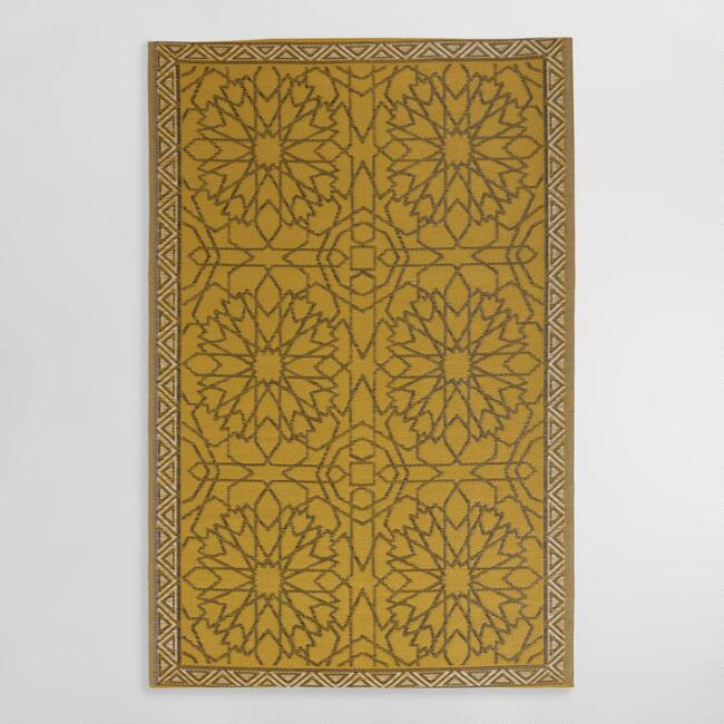 6'x9' Gold Sufi Reversible Indoor Outdoor Rio Floor Mat