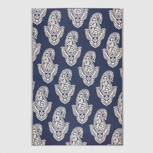 6'x9' Navy Paisley Reversible Indoor Outdoor Rio Floor Mat