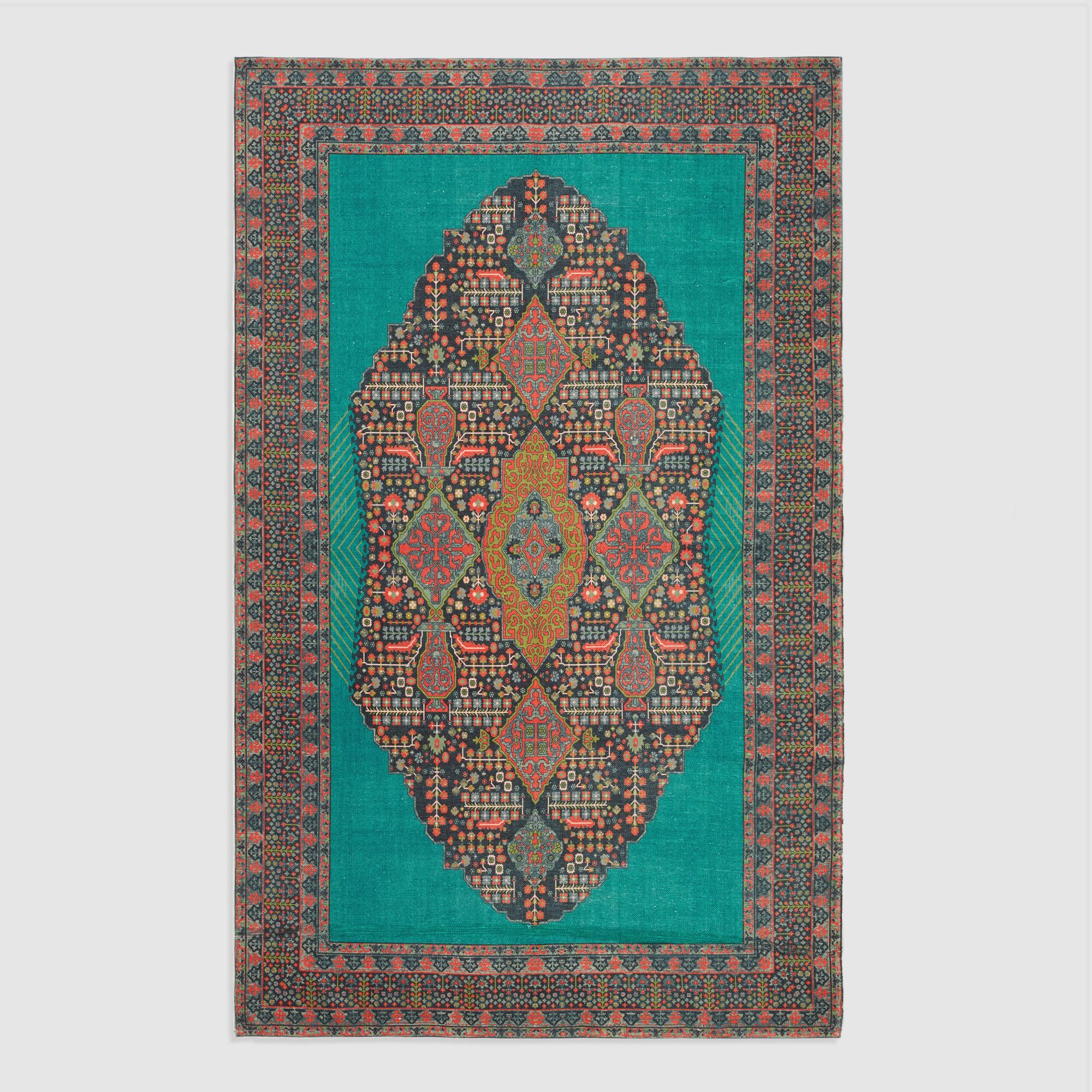 5\'x8\' Teal Medallion Indoor Outdoor Rug | World Market