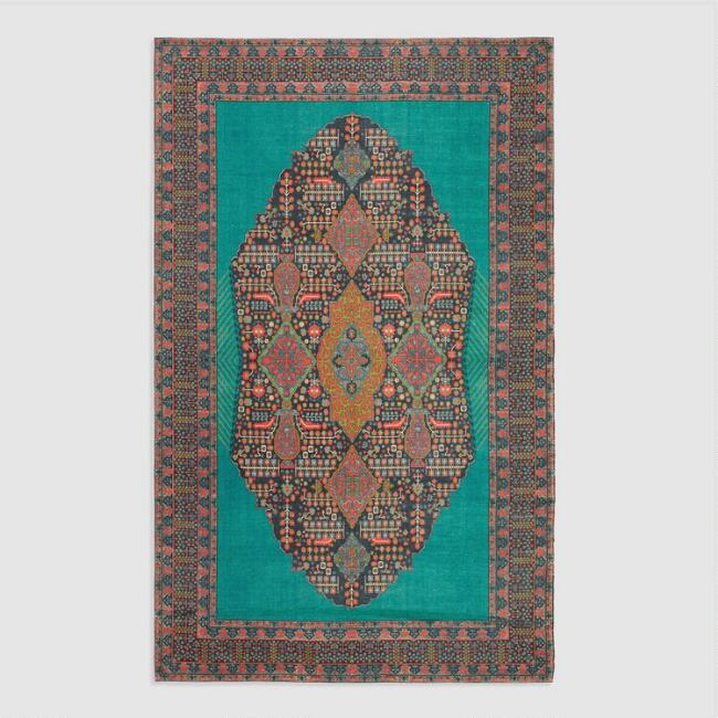 5'x8' Teal Medallion Indoor Outdoor Rug