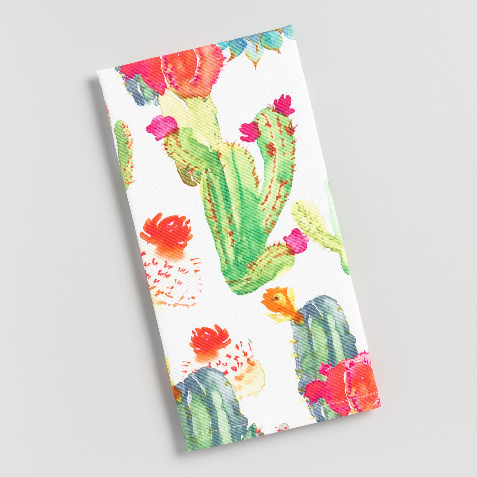 Watercolor Cactus Print Kitchen Towel - Cotton by World Market