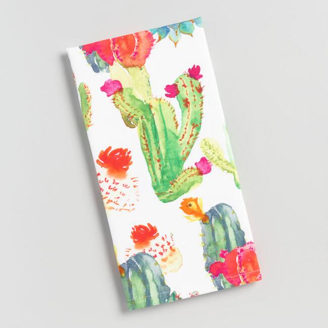 Watercolor Cactus Print Kitchen Towel