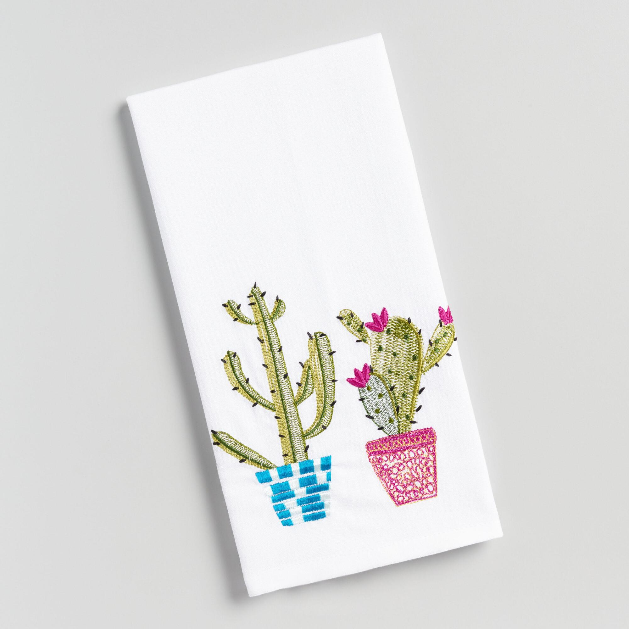 Embroidered Cactus Kitchen Towel - Cotton by World Market