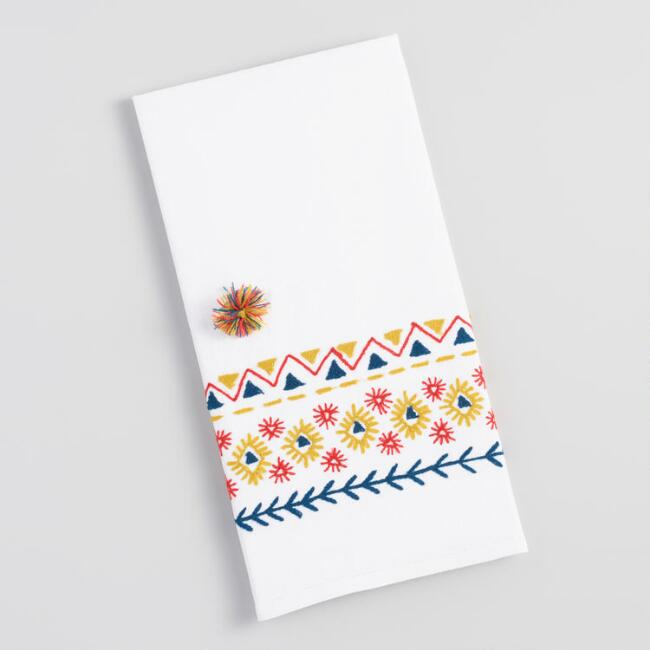 Embroidered Tribal Art Kitchen Towel with Pom Poms