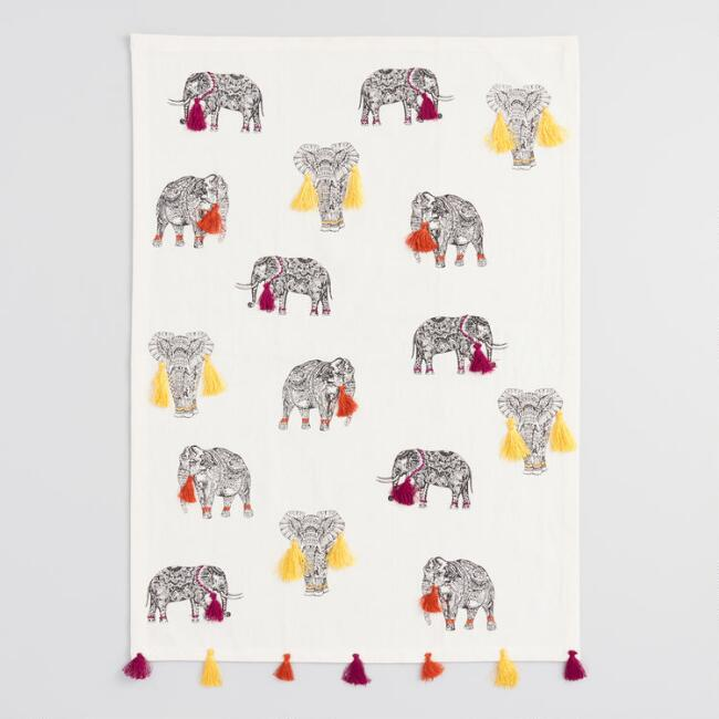 Elephants with Tassels Kitchen Towel