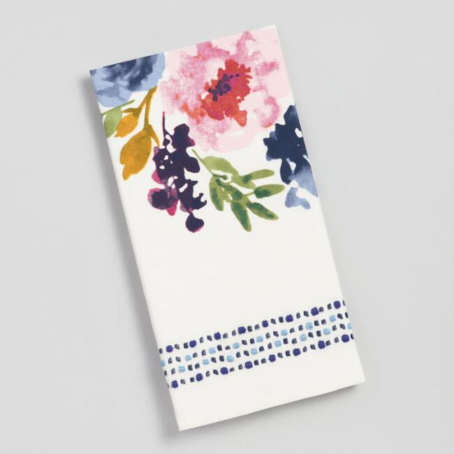 Floral and Dot Border Embroidered Kitchen Towel
