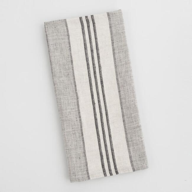 Black and Ivory Stripe Linen Kitchen Towel