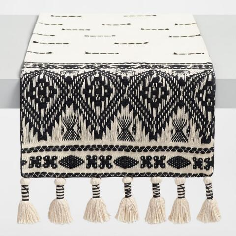 Coffee Table Runner.Black And White Textured Table Runner With Tassels