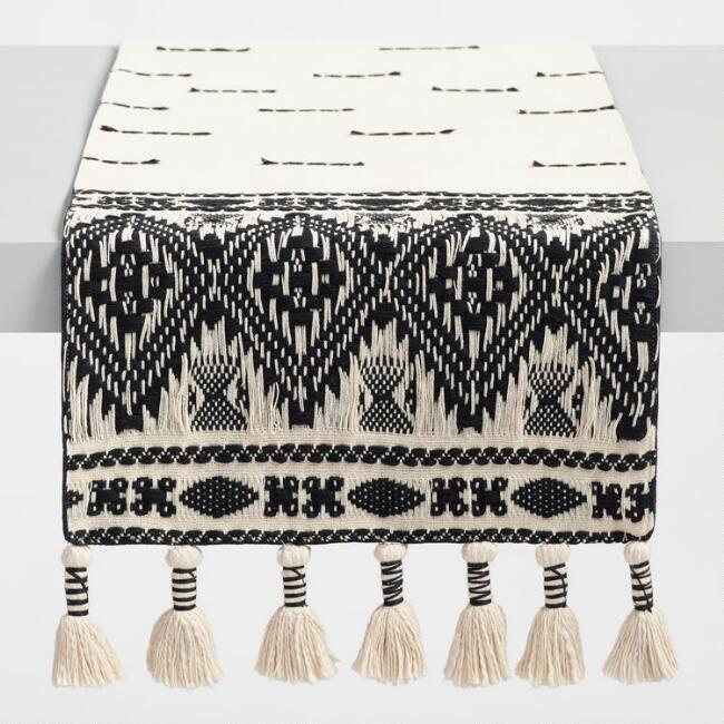 Black and White Textured Table Runner with Tassels