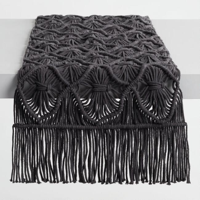 Black Macrame Table Runner