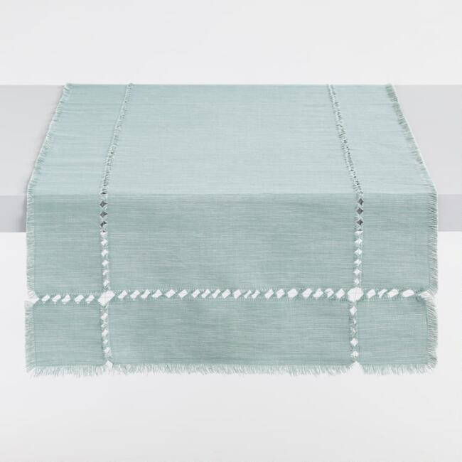 Oversized Jadeite Green Melange Khadi Table Runner