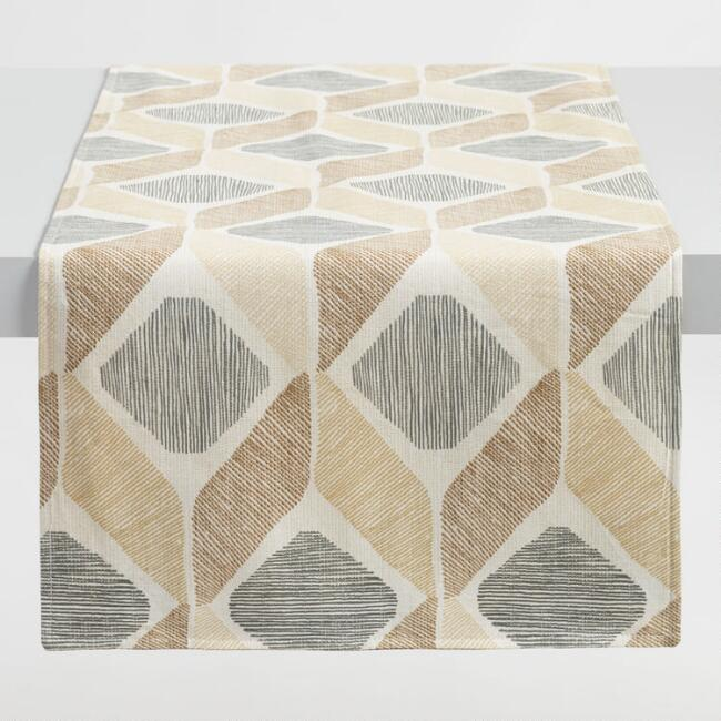 Taupe Diamond Morris Table Runner World Market