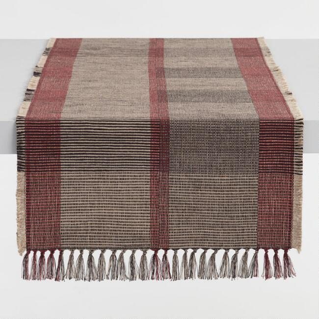 Red Black and Tan Woven Jute Asmara Table Runner