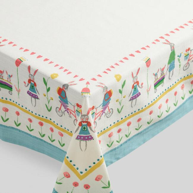 Ivory Bunny Family Tablecloth