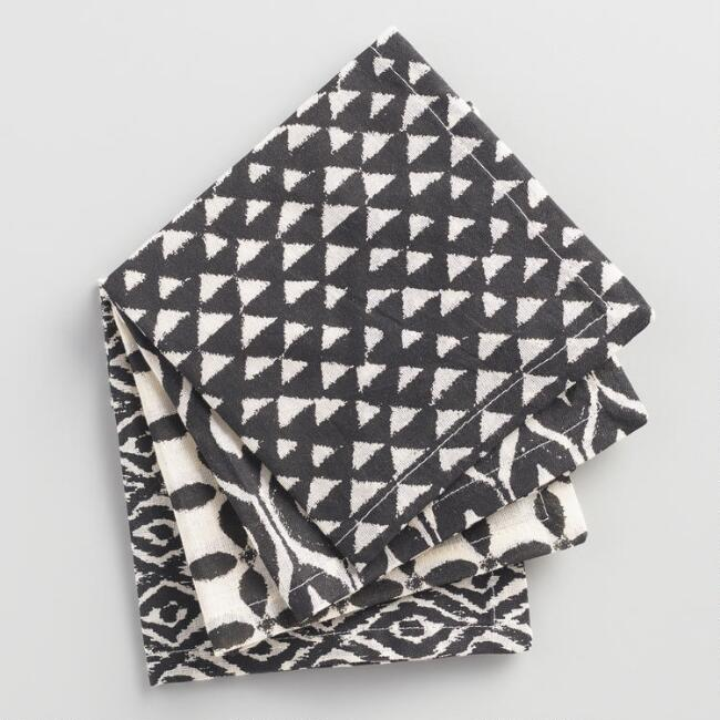 Jungle Geometric Print Cocktail Napkins Set of 4