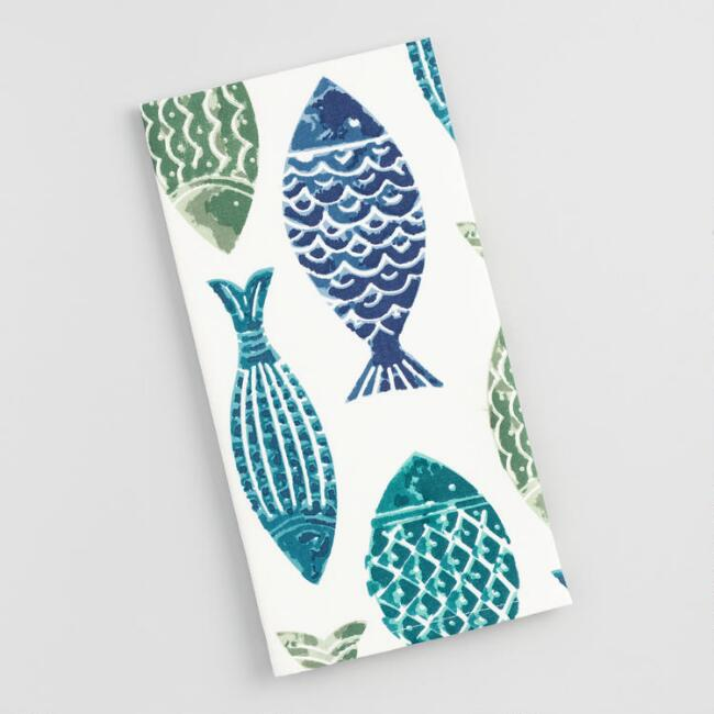 Teal and Blue Fish Print Kitchen Towel