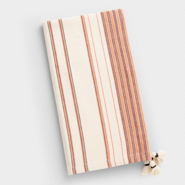 Orange Stripe Oasis Napkins with Tassels Set of 4