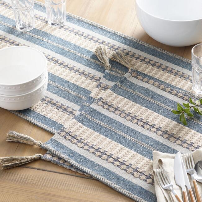 Blue Stripe Cotton Jute Table Linen Collection