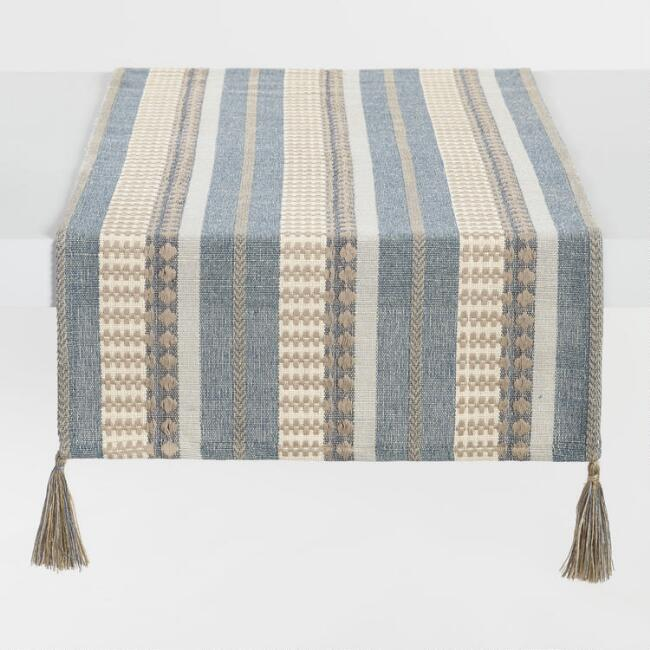 Blue Stripe Cotton Jute Table Runner with Tassels