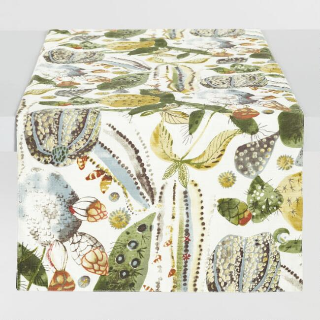 Green Cactus Print Table Runner