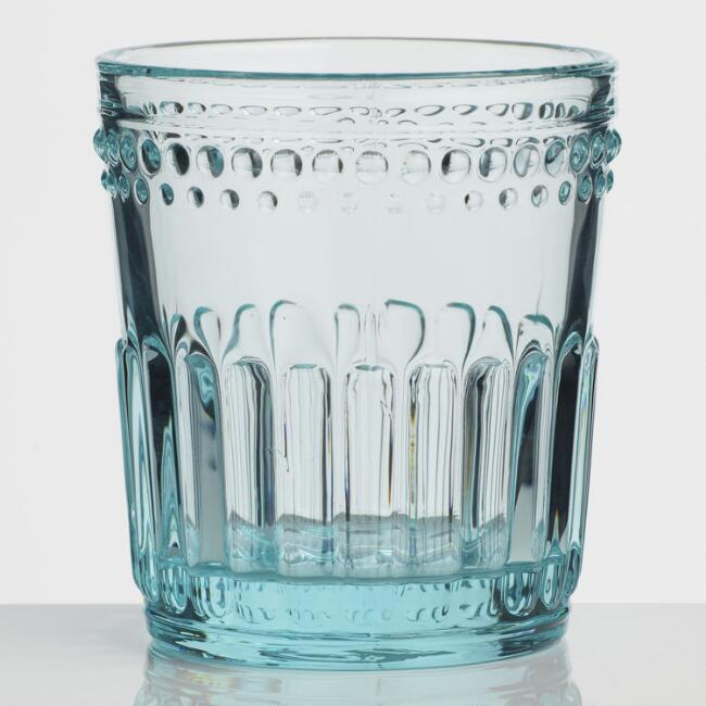Blue Pressed Glass Double Old Fashioned Glasses Set of 4