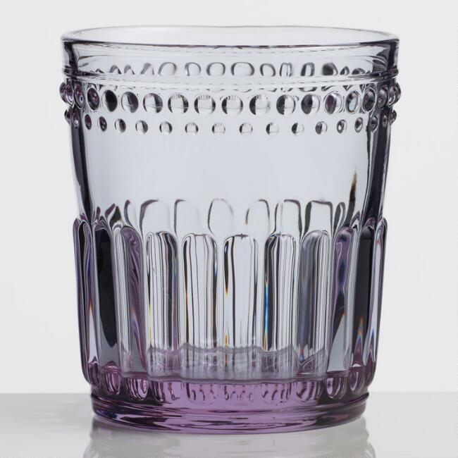 Lavender Pressed Glass Double Old Fashioned Glasses Set of 4