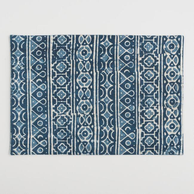 Natural Indigo Hand Block Print Geometric Placemats Set of 4