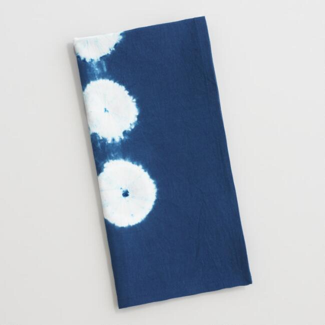 Natural Indigo Shibori Dot Napkins Set of 4