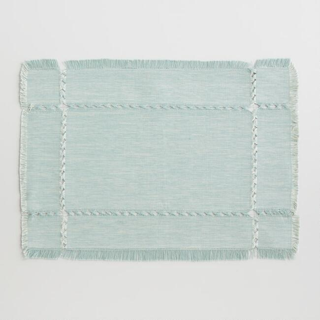 Jadeite Green Khadi Melange Placemats Set of 4
