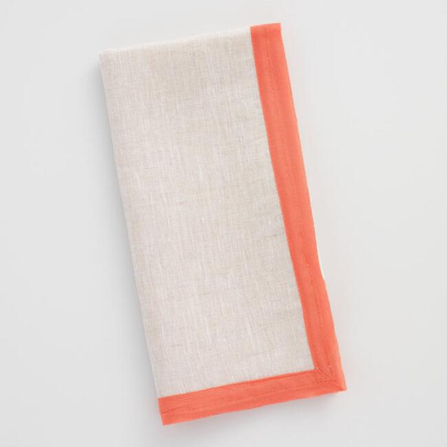 Linen Napkins with Coral Orange Cotton Voile Trim Set of 4