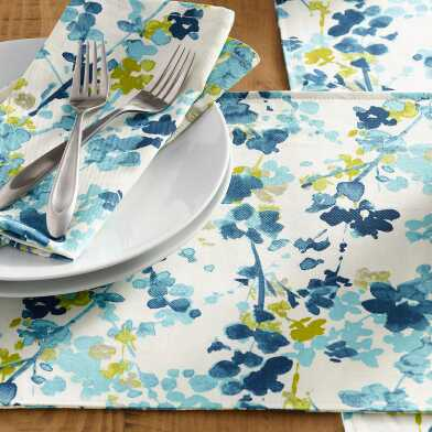 Blue Floral Margo Table Linen Collection