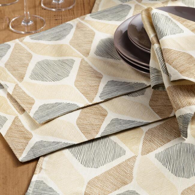 Taupe Diamond Morris Table Linen Collection