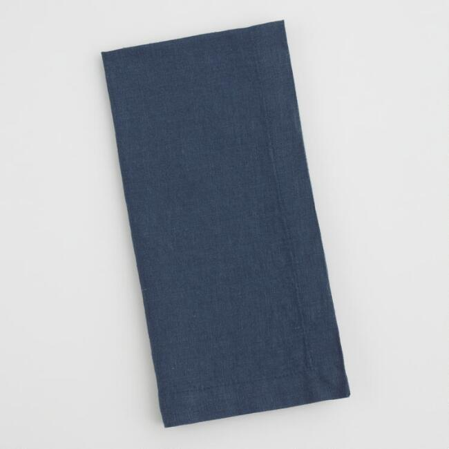 Dark Indigo Blue 100% Linen Napkins Set of 4