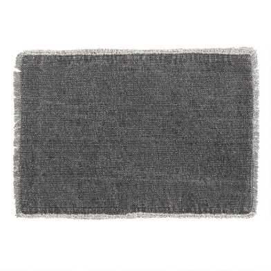 Soft Black Woven Placemats with Natural Fringe Set of 4