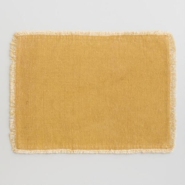 Mustard Woven Placemats with Natural Fringe Set of 4