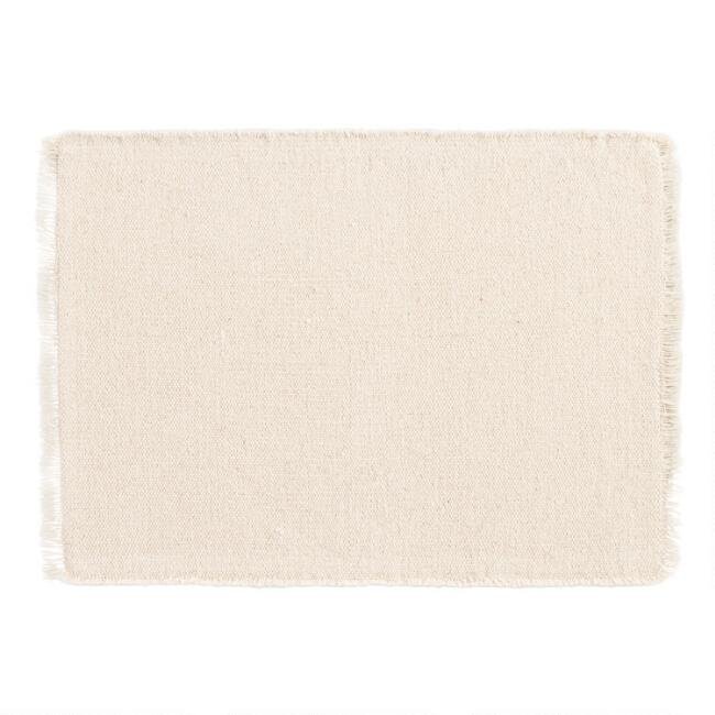 Neutral Woven Placemats with Natural Fringe Set of 4