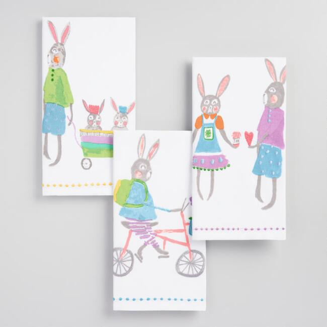 Whimsical Bunny Kitchen Towels Set of 3