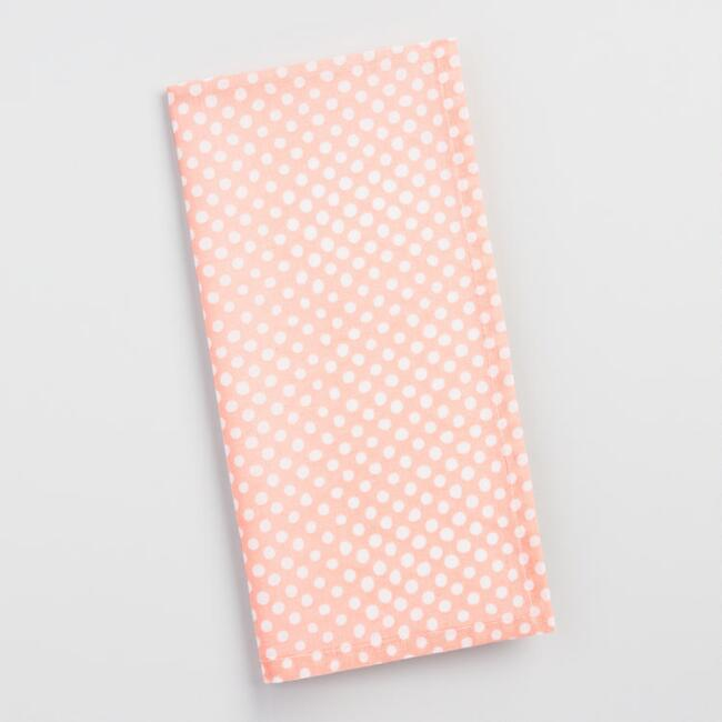 Pink Polka Dot Napkins Set of 4