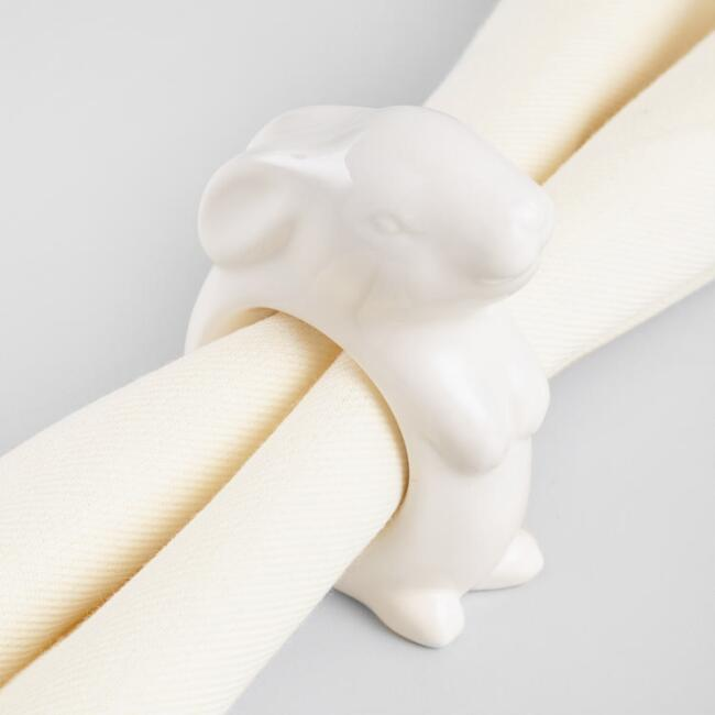 White Ceramic Bunny Napkin Rings Set of 4