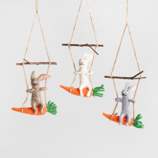Felted Wool Swinging Bunnies Hanging Decor Set of 3