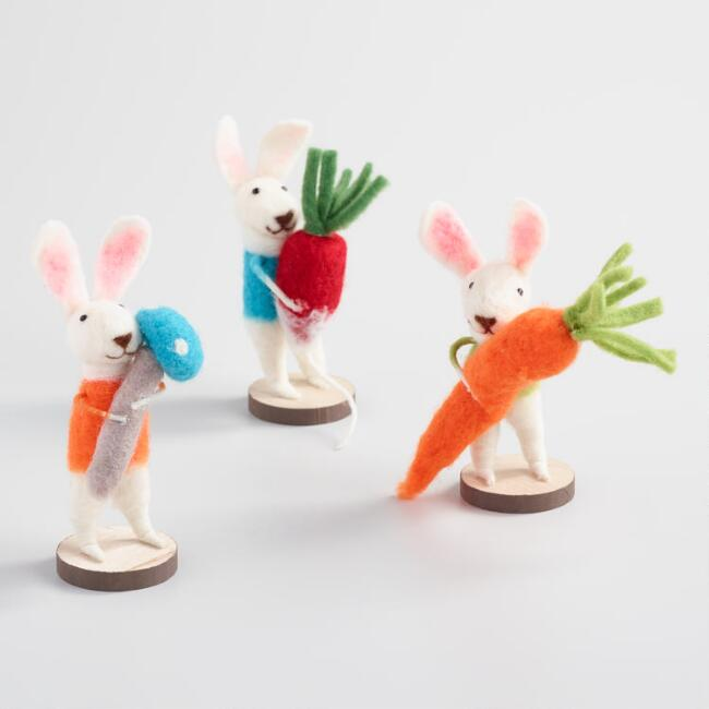 Felted Wool Bunnies with Vegetables Decor Set of 3