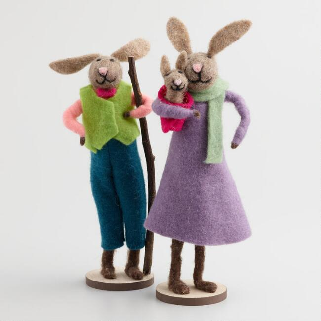 Felted Wool Mom and Dad Bunnies Decor Set of 2